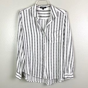 Velvet Heart | Striped Hi-Lo Button Down Shirt L